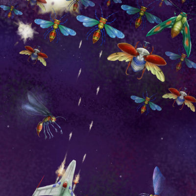 Galaga Dogfight; Graphite pencil and Photoshop. 2010