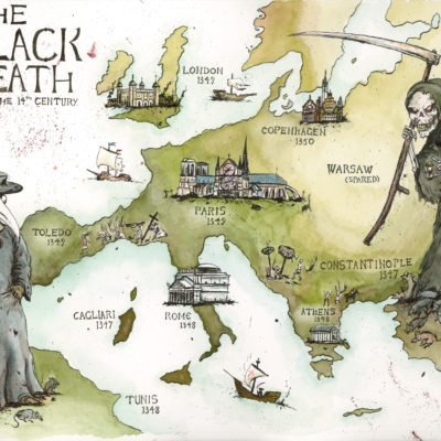 The Black Death: The 14th Century; Watercolor and Ink. 2009