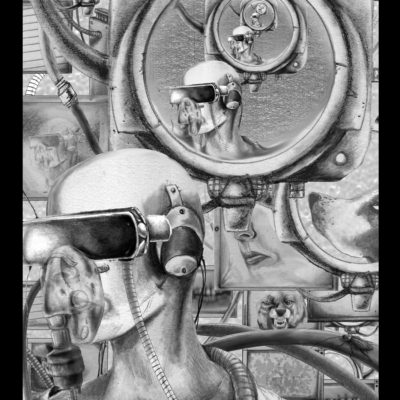 The Endless Factory Tarot: The Moon; Graphite and Photoshop, 2014